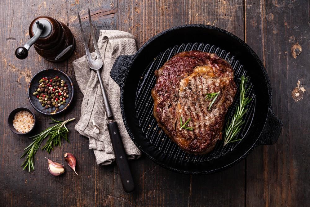 gusseiserne Grillpfanne, Steak braten